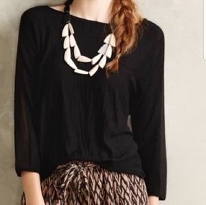 Anthpologie Knit top with Sheer Sleeves